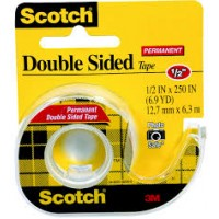 3M TAPE DBL SIDED YELLOW 1/2X250