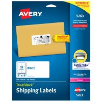 AVERY LASER LABEL, 2X4 WHITE 250/PACK