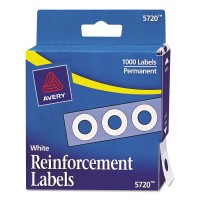 Avery Hole Reinforcement Labels Dispenser Pack 1/4in White