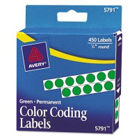Avery Permanent Color Coding Labels Round 1/4in Green