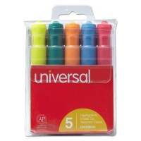 UNV HIGHLIGHTER ASSORTED 5CLR