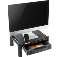 MONITOR RISER GLASS TOP BLACK