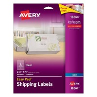 Avery Easy Peel Clear Shipping Labels for Inkjet Printers, 3.3 x 4-Inches