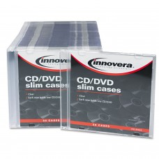 Innovera CD/DVD Polystyrene Thin Line Storage Case Clear 50/Pack