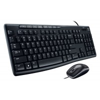 Logitech MK200 Wired Combo Keyboard and Mouse, Black