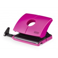 NOVUS 2-HOLE PUNCH WITH STOP RAIL HAPPY PINK