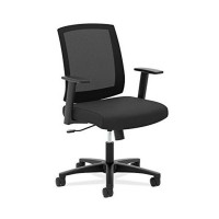 Basyx by HON HVL511 Mid-Back Task Chair, Black Mesh Fabric
