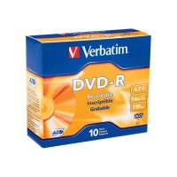 Verbatim 4.7GB up to 16x Branded Recordable Disc DVD-R 10-Disc Slim Case 95099