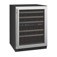 "24"" Wide FlexCount Series 56 Bottle Dual Zone Stainless Steel Right Hinge Wine Refrigerator"