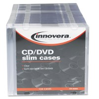 Innovera CD/DVD Polystyrene Thin Line Storage Case Assorted Colors 50/Pack