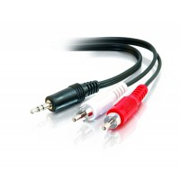 C2G / Cables To Go 40423 Value Series One 3.5mm Stereo Male to Two RCA Stereo Male Y-Cable, Black (6 Feet/1.82 Meters)