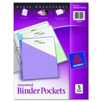 Avery Advantages Binder Pockets, Assorted, 5 pack