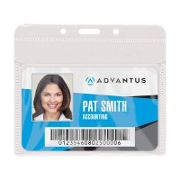Advantus Badge Holders, Horizontal, Clear, 50/Pack