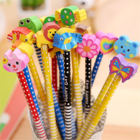 Colorful Novelty Cartoon Animals' Stripe Eraser Wood Pencils