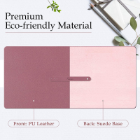 "TOWWI PU Leather Desk Pad with Suede Base, Multi-Color Non-Slip Mouse Pad, 32"" x 16"" Waterproof Desk Writing Mat, Large Desk Blotter Protector (Dark Pink)"