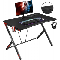 "Yakey Gaming Desk 45.3"" W x 29"" D Home Office Desk Extra Wide, Gaming Workstation with Power Strip of 2-Outlet & 2 USB Ports, Large Cup Holder, Headphone Hook and Cable Management, Sleek Black"