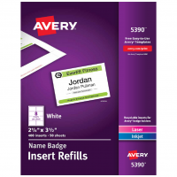 "Avery 5390 Name Badge Insert Refills 2-1/4"" x 3-1/2"" 400 Inserts"