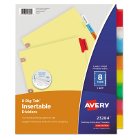 AVERY BIG TAB DIVIDERS, 8 TABS - CLEAR