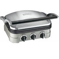 "Cuisinart GR-4NP1 5-in-1 Griddler, 13.5""(L) x 11.5""(W) x 7.12""(H), Silver With Silver/Black Dials"