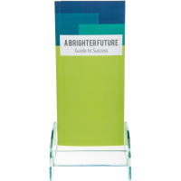 Deflect-O(R) Green-Edge Leaflet Holder, 8in.H x 4 1/2in.W x 3 3/4in.D, Clear/Gre