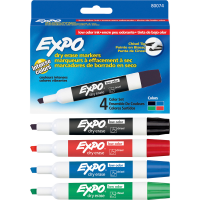 Dry-Erase Marker, Low Odor, Chisel Tip, 4-Color/Set