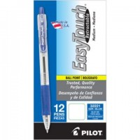 Pilot EasyTouch Retractable Ballpoint Pen, 1.0mm Medium Point, Blue, 12ct