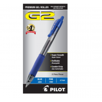 Pilot G2 Retractable Gel Ink Rollerball Pen Fine Point Blue 12x