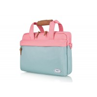 G BROTHERS 15.6 INCH LAPTOP BAG GREY/PINK