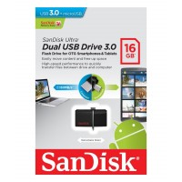 SanDisk 16GB Ultra Dual Otg Usb 3 Memory Stick Flash Back Up Pen Drive 130mb/s