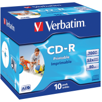 VERBATIM 94935 CD-R 80MIN 700MB 52X SLIM CASE 10/Pack