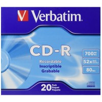 Verbatim 700 MB 52x 80 Minute Branded Recordable Disc CD-R, 20-Disc Slim Case