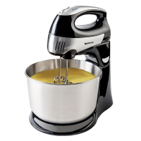 MyHome Hand and Stand Mixer, 4 Quarts, 6  Speeds with QuickBurst, 300 Watts, Bowl Rest, Black and Stainless steel