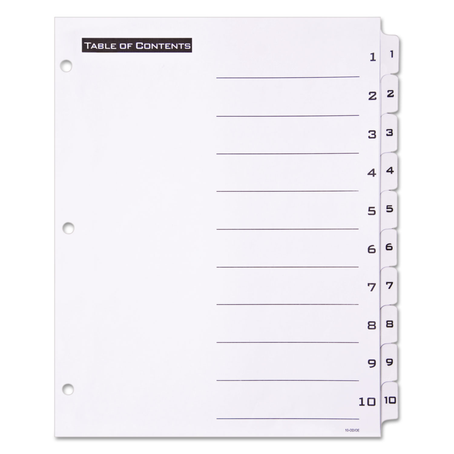 AVE TABLE N TABS DIVIDER 1-10