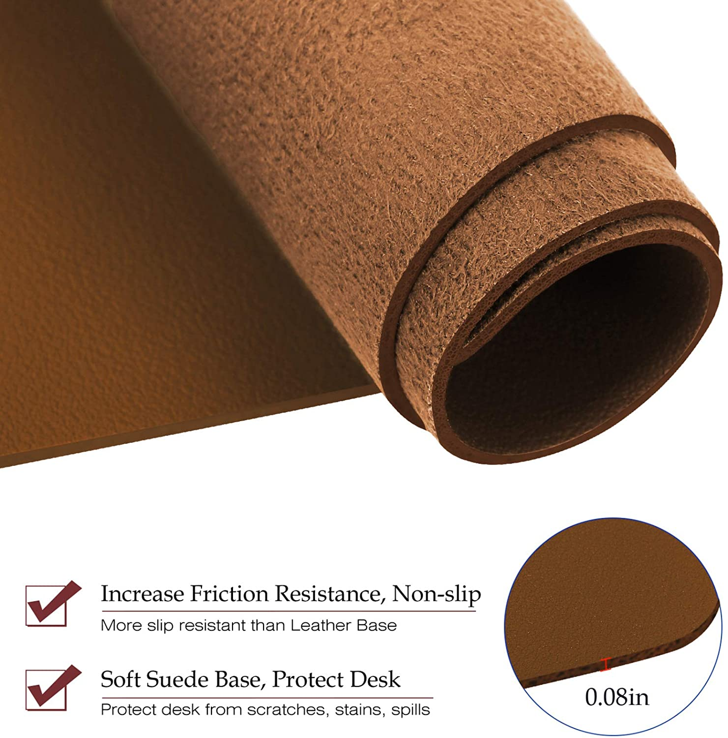 "TOWWI PU Leather Desk Pad with Suede Base, Multi-Color Non-Slip Mouse Pad, 32"" x 16"" Waterproof Desk Writing Mat, Large Desk Blotter Protector (Brown)"