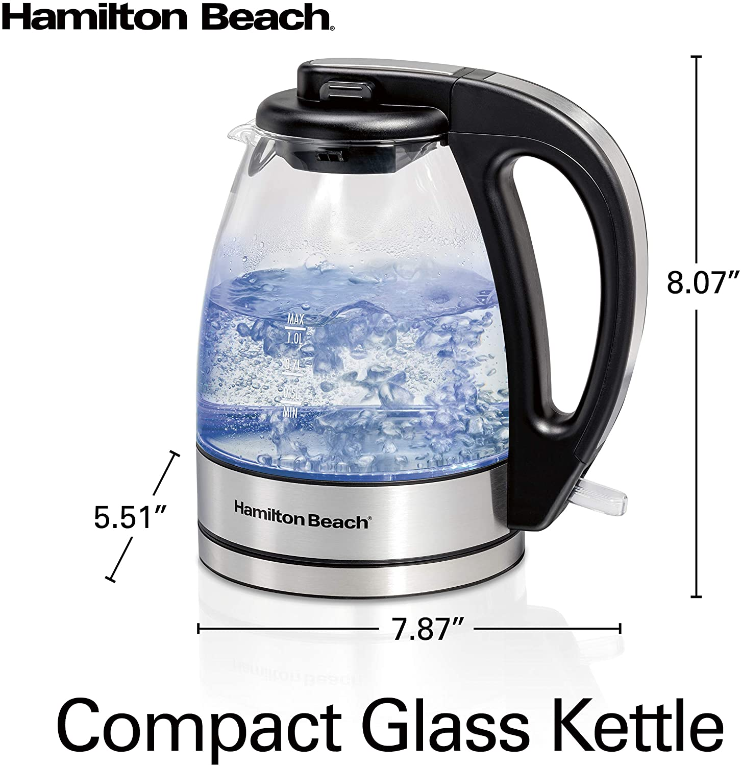Hamilton Beach Glass Electric Tea Kettle, Water Boiler & Heater, 1 L, Cordless, LED Indicator, Auto-Shutoff & Boil-Dry Protection (40930), Clear