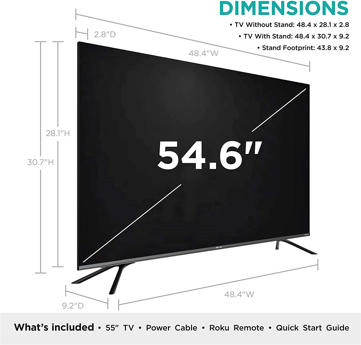 Hisense 55-Inch Class R8 Series Dolby Vision & Atmos 4K ULED Roku Smart TV with Alexa Compatibility and Voice Remote (55R8F, 2020 Model)