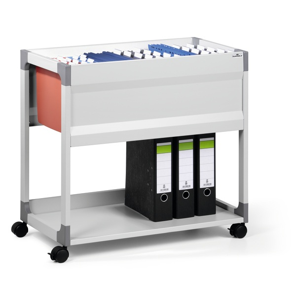 DURABLE SYSTEM FILE TROLLEY 90 A4, Grey with Suspension